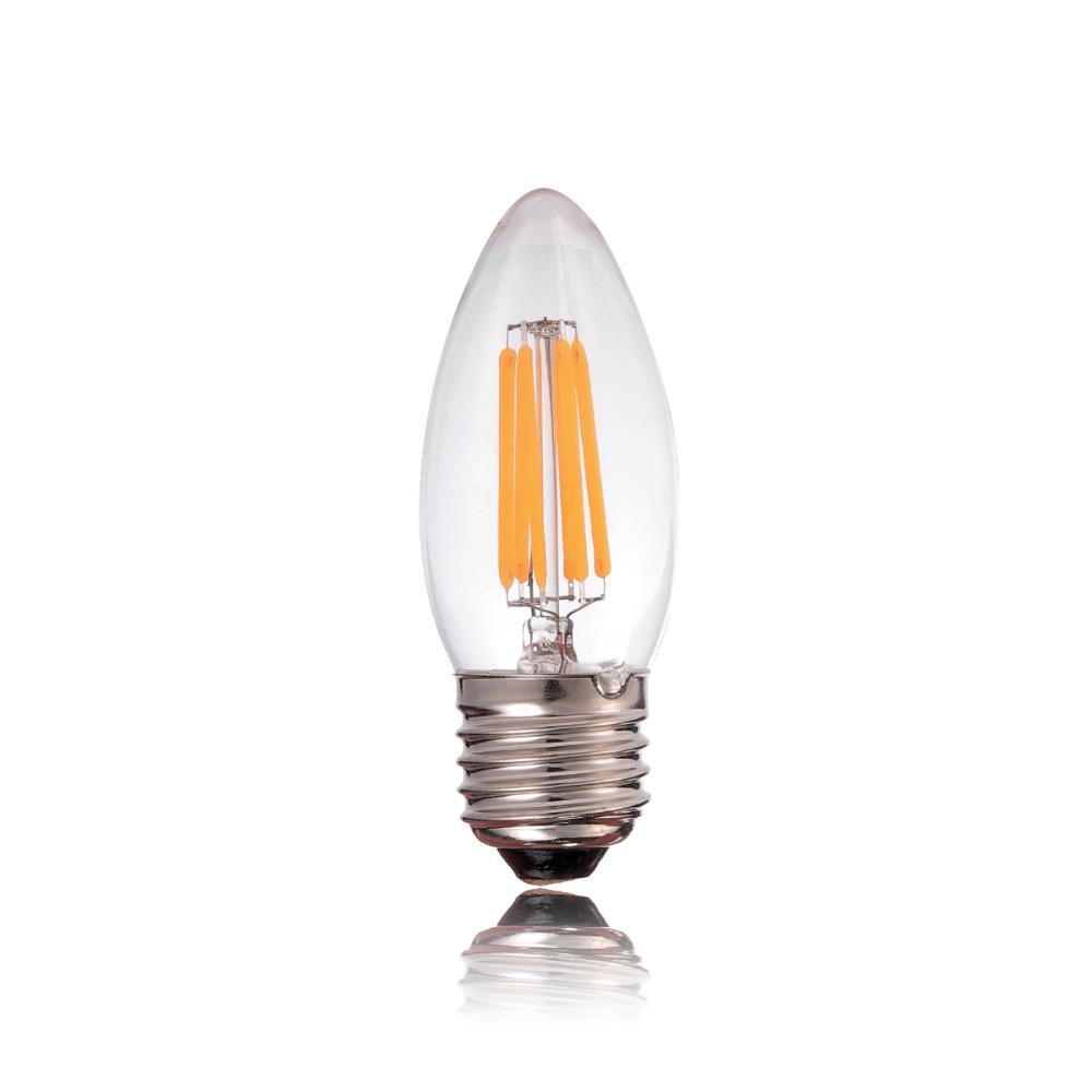 Led Light Bulbs Chandelier: 4W 6W,E27 E26 Bulb LED Filament Light ,C35 Chandelier