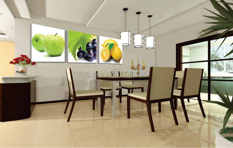 Big size 3pcs modern decor restaurant dining room wall art decor apple  grape lemon Wall Art picture fruits canvas print Painting