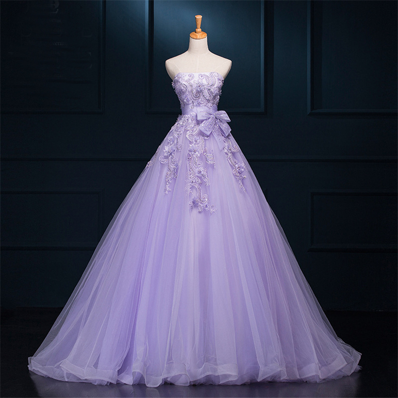 Real Picture Purple Wedding Dresses Ball Gown 2015 Cheap