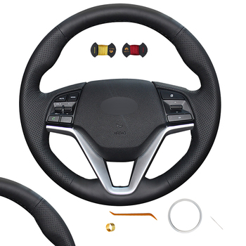 DIY Steering Wheel Cover Installation Stitching Instructions Knitting Pattern For Hyundai Tucson 3 2016 2017 2018 2019 2020 2021