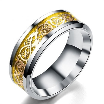 Gold Color Carbon Fiber Dragon Pattern Inlaid Silver Titanium Ring Core Wedding Band Ring