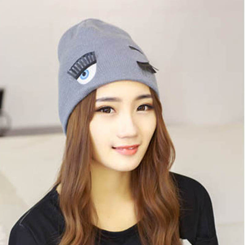 Cute Eyelash Beanie Hat for Women Cappello Cap Ladies ...