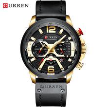 CURREN для мужчин s часы лучший бренд класса люкс кожа спортивные часы модные хронограф кварцевые человек часы водонепроницаемый(Китай)