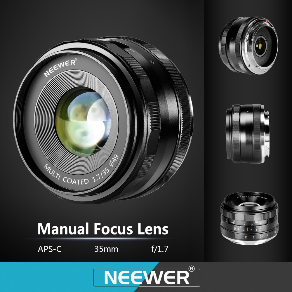 Neewer 35 мм f/1.7 Ручная Фокусировка Премьер-Фиксированный Объектив для SONY E-Mount Цифровые Фотоаппараты, NEX3, 3N, 5, 5 Т, 5R, 6, A5100, A6000NW-E-35-1.7