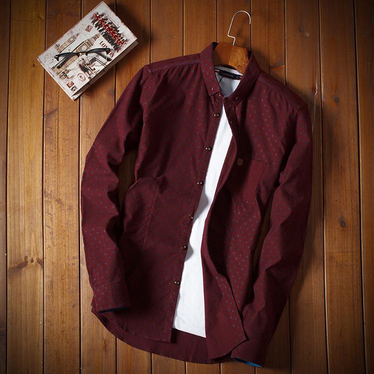 men's button-down long sleeve casual shirt