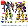 With Package 6 PCS Set Transformation Robot Cars Autobots Prime Bruticus Toys Action Figures Block Toys
