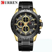Мужские часы Curren, деловые часы золотого цвета с секундомером, 2019(Китай)