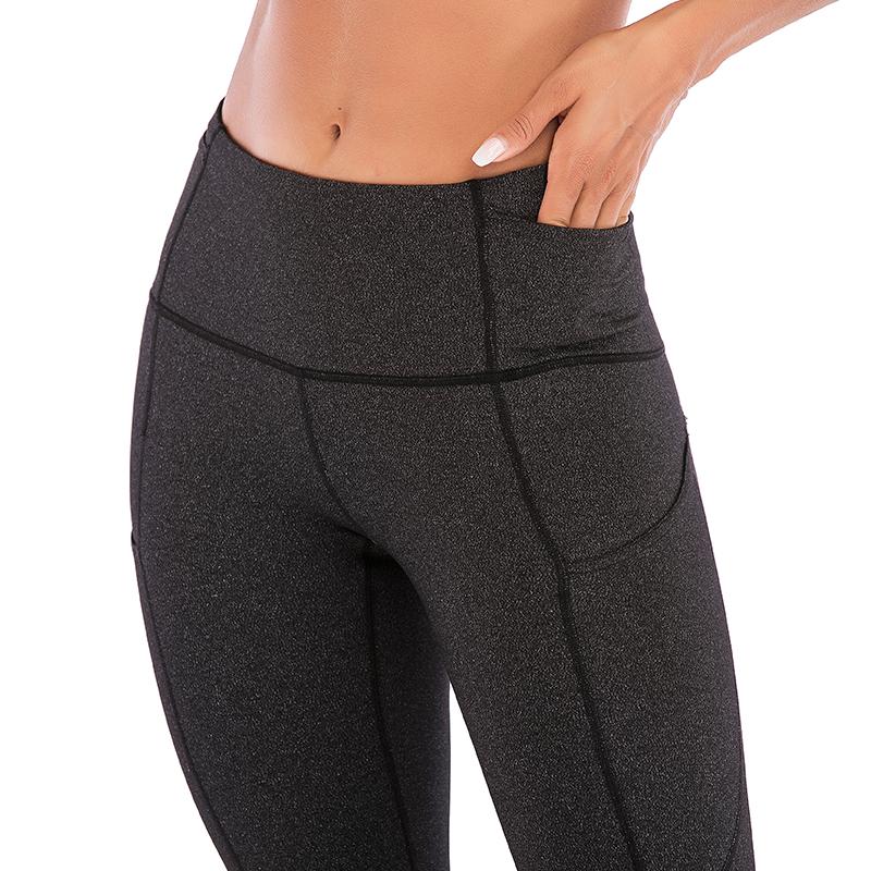 Влагоотводящие дышащие леггинсы для фитнеса с логотипом на заказ с боковым карманом лоскутные леггинсы штаны для йоги