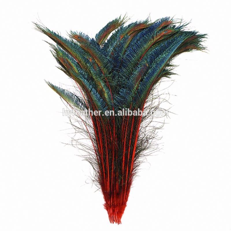 Horng Shya Factory оптовая продажа дешево высокое качество OEM 10-14 дюймов декоративное перо Материал натуральные перья павлина меча