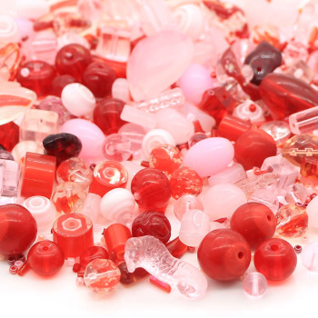 Handmade diy mixed glass beads red and pink beads with seed beads for jewelry making