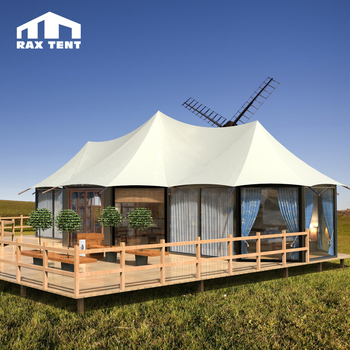 100 SQM Three Peak Tent for Permanent Living Luxury Tent Home with Glass Wall