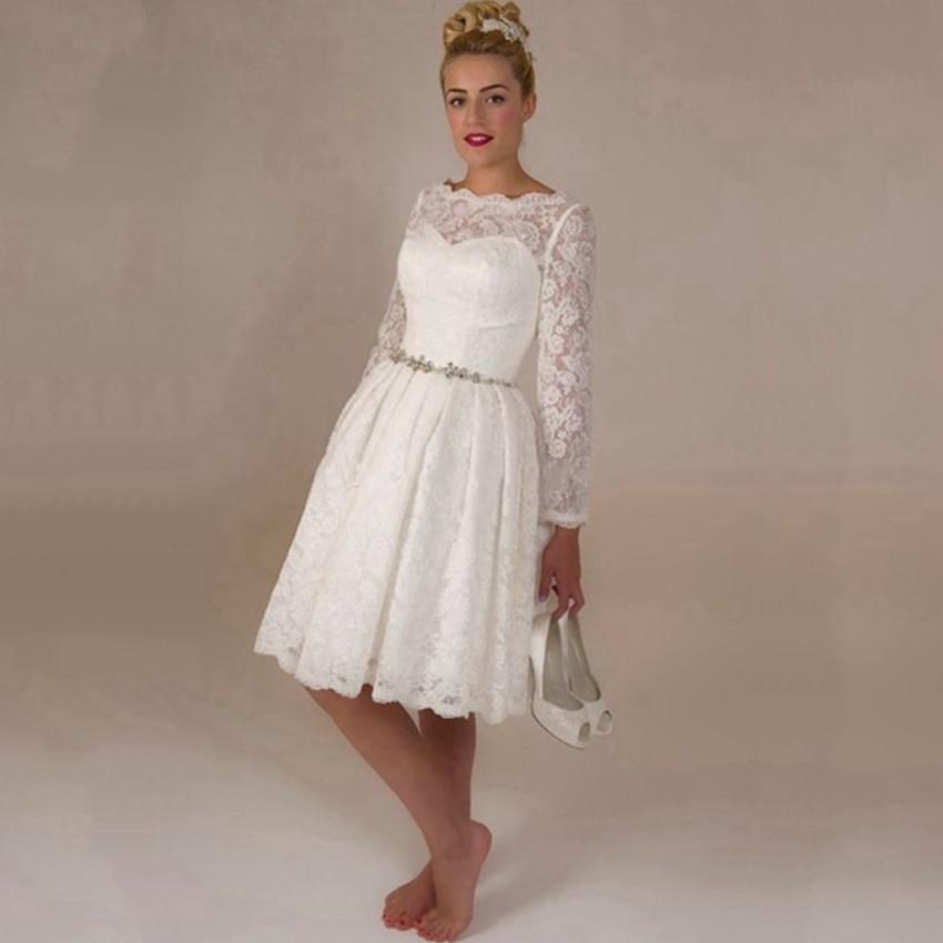 2015 Hot Sale White Lace Short Wedding Dresses Long Sleeve