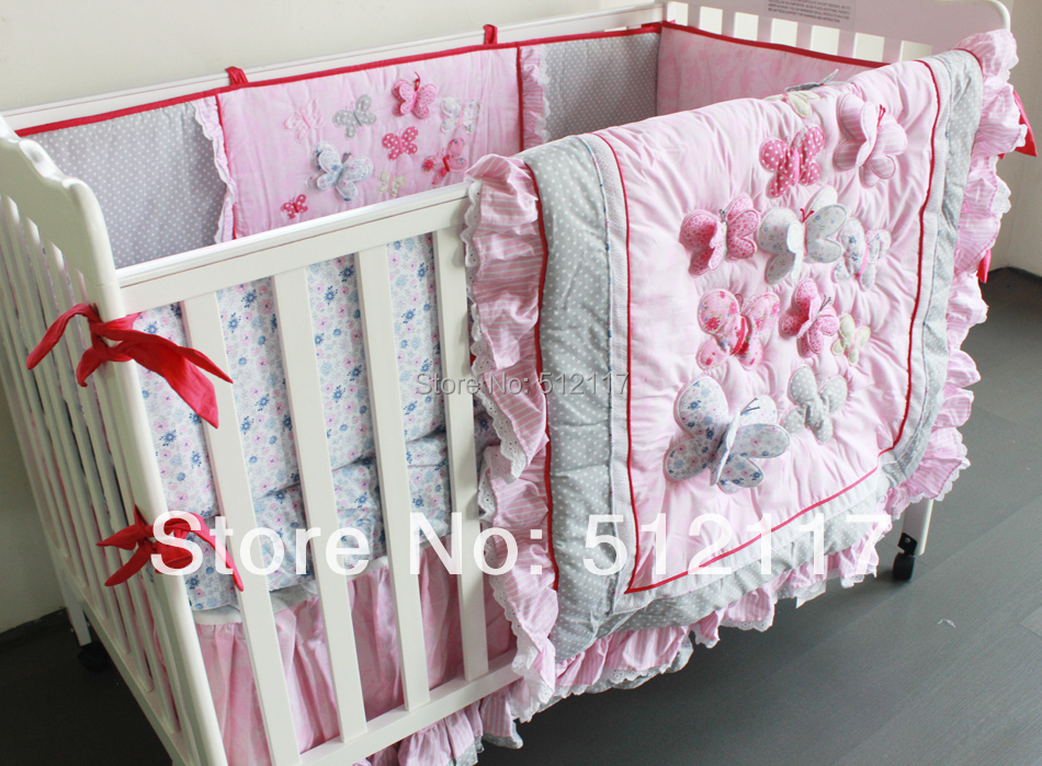 2014 new 6pcs embroidered 3d pink butterfly lace baby crib cot bedding set 4items quilt bumper. Black Bedroom Furniture Sets. Home Design Ideas