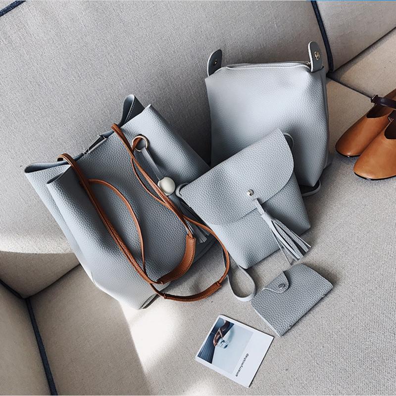 Hot selling women bags wooden pearl tassel four-piece shoulder slanting cross-bucket bag change mobile phone bags