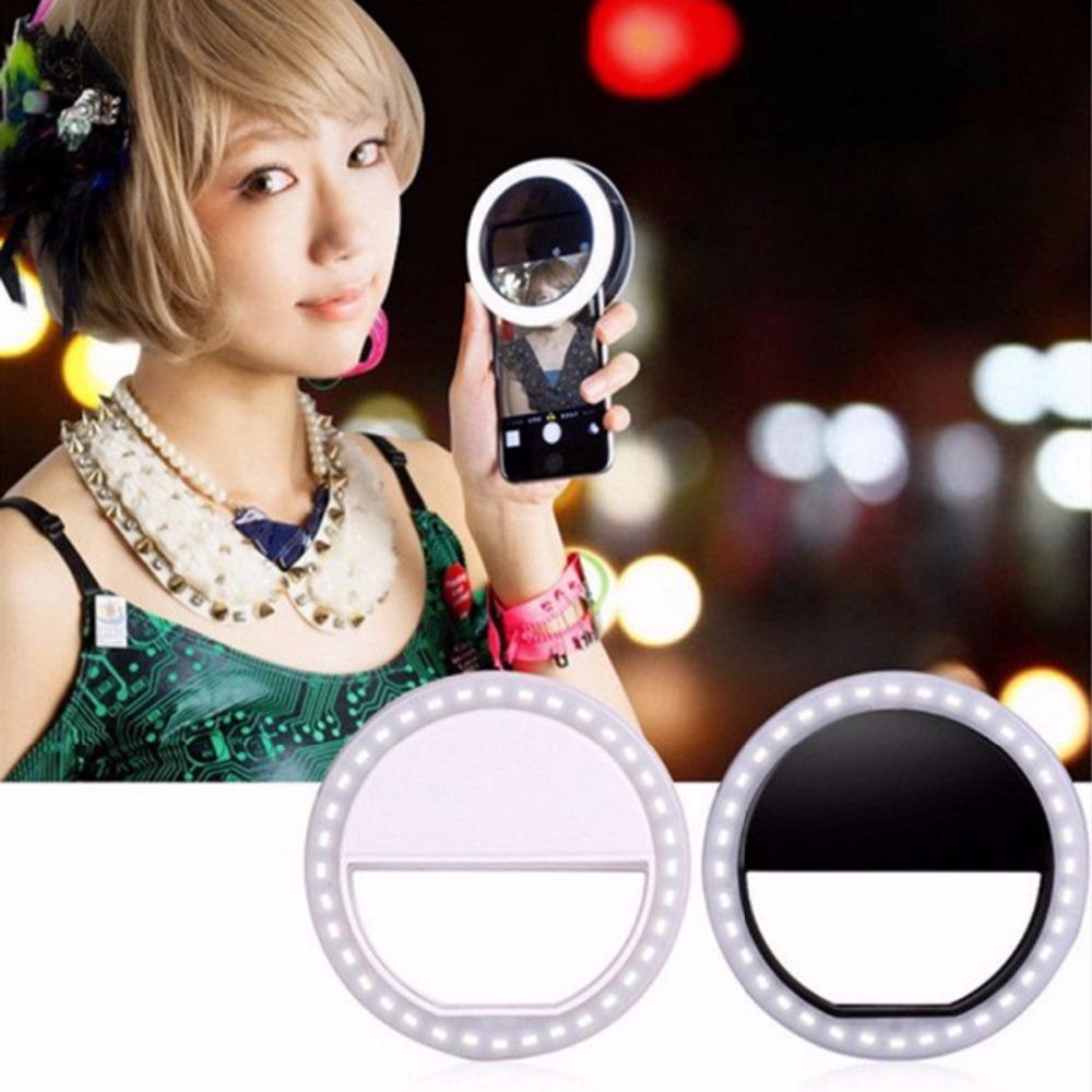 Смартфон СВЕТОДИОДНОЕ Кольцо Селфи Селфи Свет Дополнительное Освещение Ночной Темноте Повышения Фотографии для iPhone 5 6 s Plus Samsung