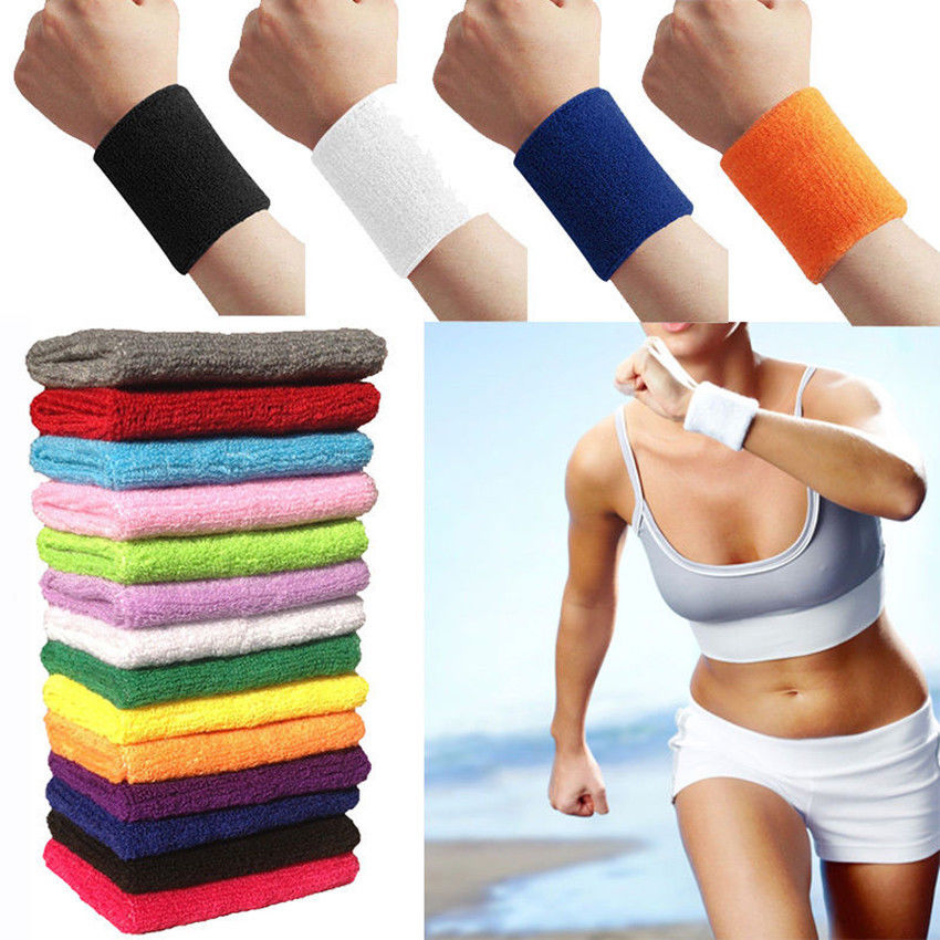 Unisex Gym Basketball Yoga Sweatband Wristband Cotton Sweat Band Arm Band
