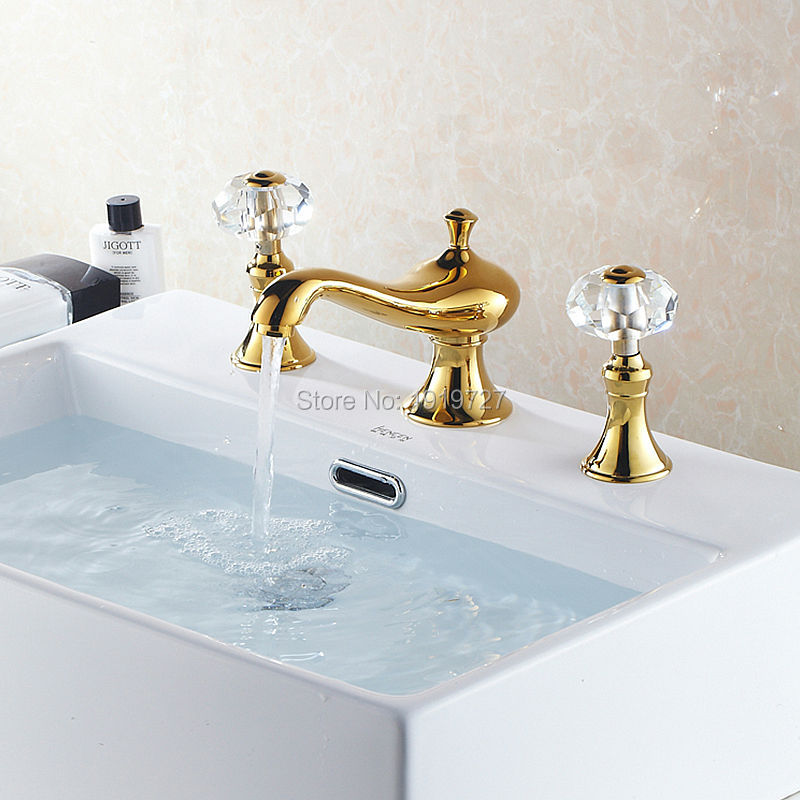 High Quality Golden Br 2 Handle Crystal Widespread Three Holes 3 Piece Bathroom Faucet Deck Mount Vanity Mixer Sink Tap