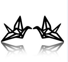 Shuangshuo женские серьги-гвоздики ручной работы, креативный бумажный журавль, оригами, деревянные серьги-гвоздики с краном, аксессуары, ювелирн...(Китай)
