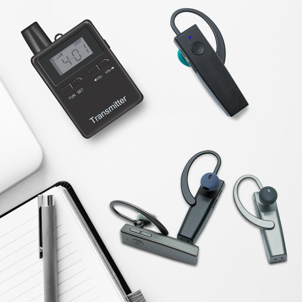 Беспроводной аудио-гид, 2,4 ГГц, передатчик и приемник с гарнитурой BT, одноразовый с использованием губки для конференц-встреч