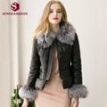 Sinofashion Europe 2016 New Winter Faux Fur Leather fox fur Coat Faux Sheep skin Women Jackets