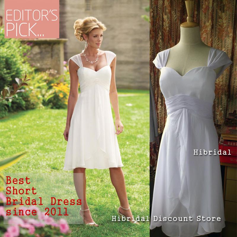 Best Cap Sleeves White Chiffon Womens Tea Length Short
