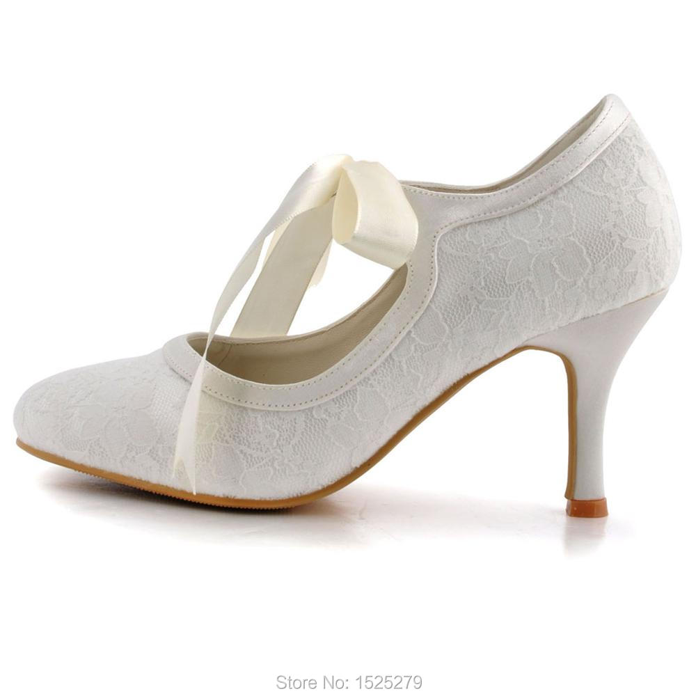 5956f5fa0b A3039-3 White Ivory Champagne Bride Women Shoes Closed Toe Party Pumps  Mary-Jane High Heel Lace Satin Wedding Bridal Shoes