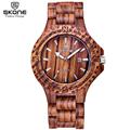 SKONE Male Date Natural Sandalwood Watches Men Casual Watch Antique Quartz Maple Wooden Wristwatches Hours Relogios