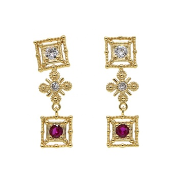 antique vintage women fashion jewelry gold plated palace style dangle earring