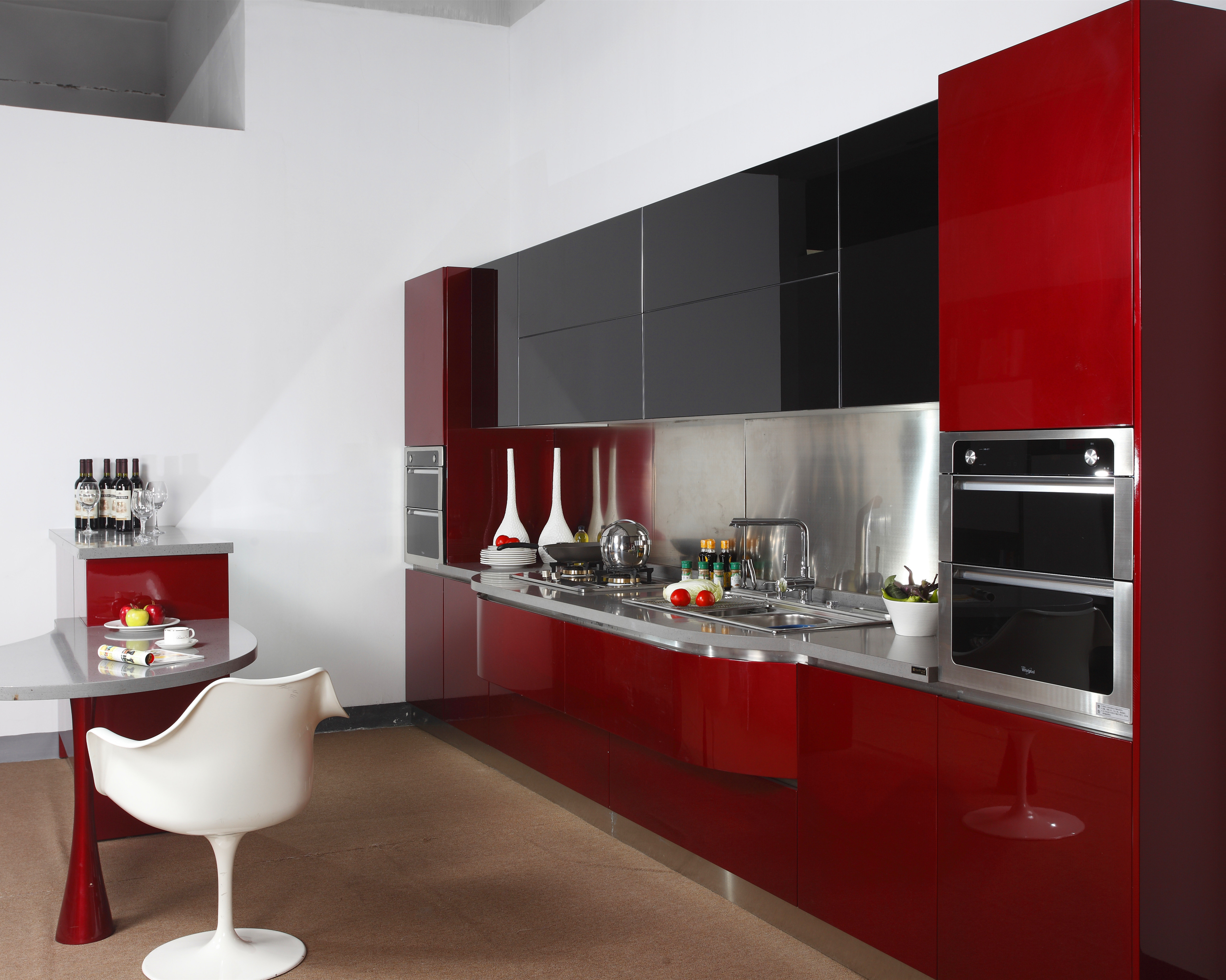 2019 New Red High Gloss Lacquer Kitchen Cabinet With Black Tempered Glass Doors Kitchen Cabinets Buy Round Kitchen Cabinets Kitchen Wall Cabinets With Glass Doors High Gloss Red Kitchen Cabinet Product On Alibaba Com