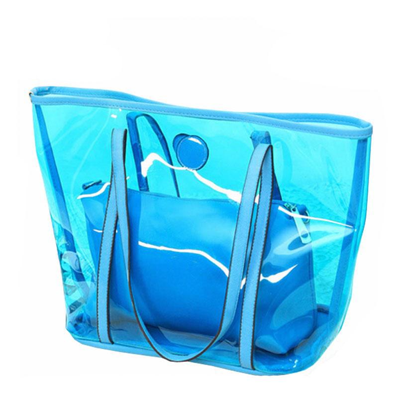 Summer Beach Totes PVC Transparent Women Shopping Bags Shoulder Handbags US