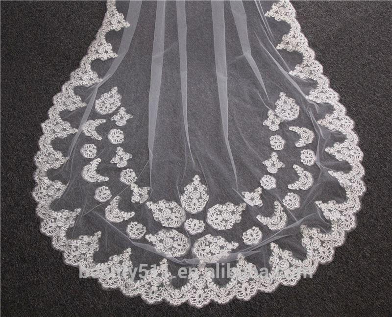 2021 оптовая продажа 3 м белый цвета слоновой кости собор Свадьба длинная кружевная отделка Фата модные длинные фатиновые HL29