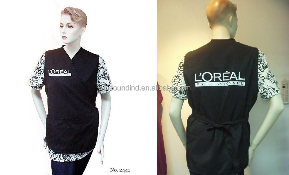 Black Polyester Hairdresser's Salon vest for L'Oreal