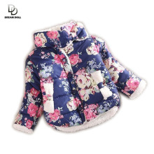 2015 girls warm coat baby winter long sleeve flower jacket children cotton-padded clothes kids christmas outwear