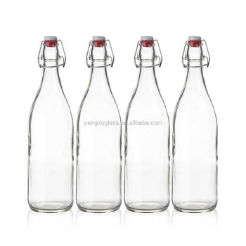 500ml 750ml 1L Clear Swing Top Stopper Glass Beer Bottle for Juice Kombucha Wholesale Free Sample