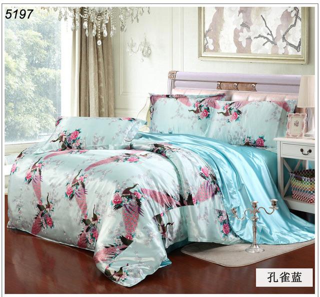 acheter paon soie literie ensemble ciel bleu soie literie tencel soie ensemble. Black Bedroom Furniture Sets. Home Design Ideas