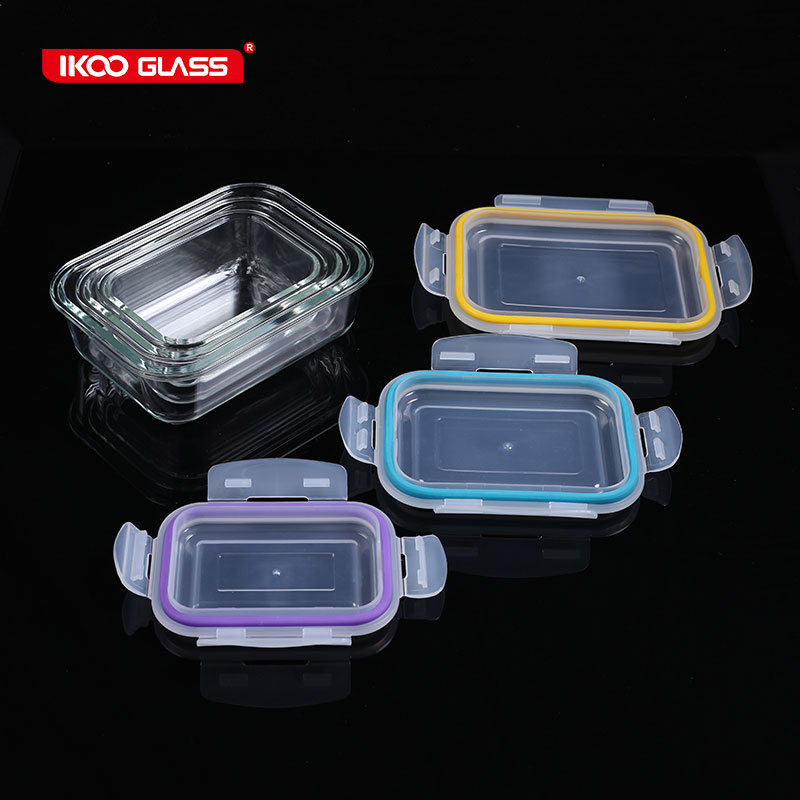 Thermal Glass Food Storage Plastic Containers Glass Lids