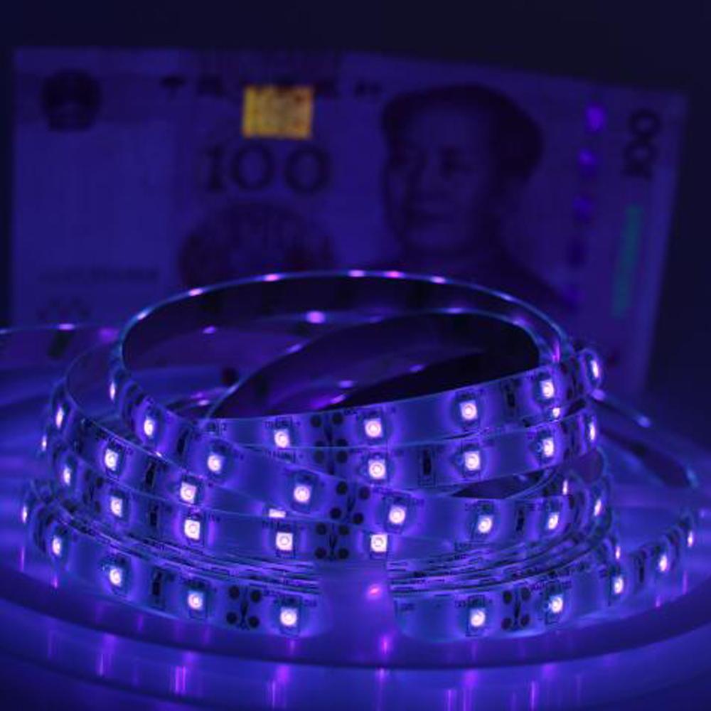 new uv black light led strip 3528 smd 60led m dc12v purple 395 405nm ultraviolet ray led. Black Bedroom Furniture Sets. Home Design Ideas