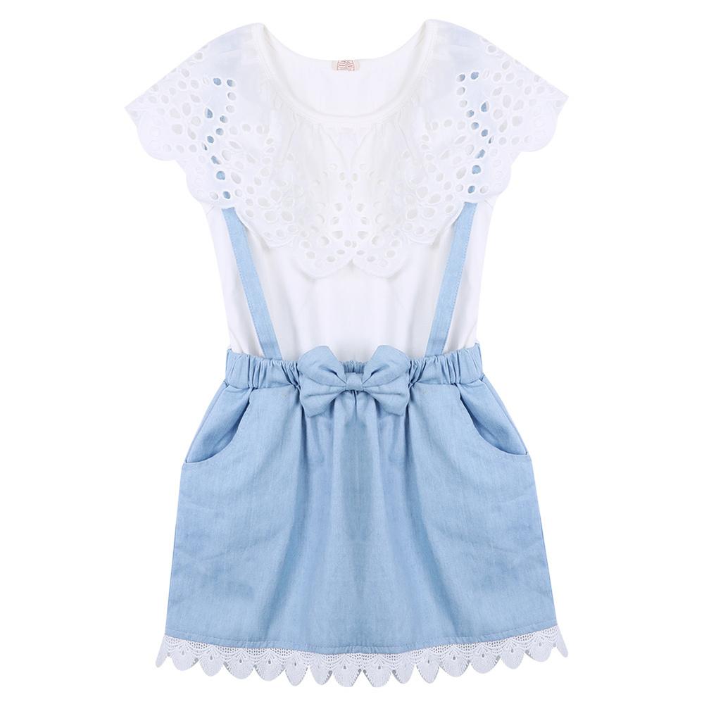 2016 Baby Kids Girls Summer font b Dress b font Baby Princess Party Denim Cotton font