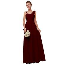 Женское длинное шифоновое платье подружки невесты, ТРАПЕЦИЕВИДНОЕ ПЛАТЬЕ бордового цвета без рукавов для свадебной вечеринки и выпускного...(Китай)