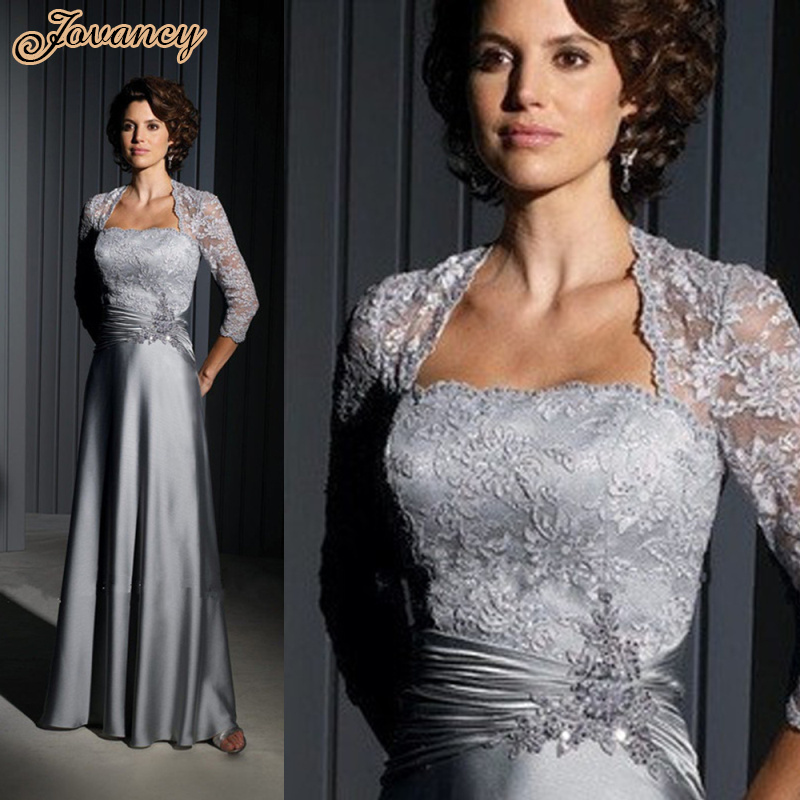 Custom Made Long Formal Evening Dress Silver Lace Mother ...