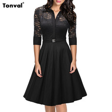 Tonval 2016 Women Lace Rockabilly Dress Vintage Evening Party Sexy Autumn Dress 1950s Turn Down Collar Elegant Black Dresses