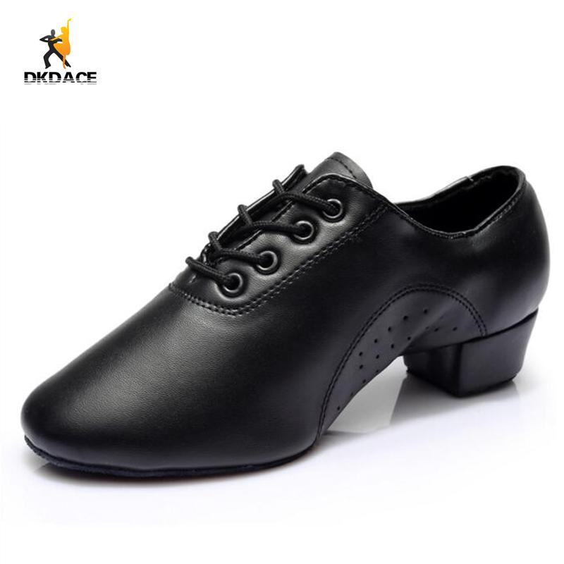 Men S Dance Shoes Sneakers Leather Low Heel Black