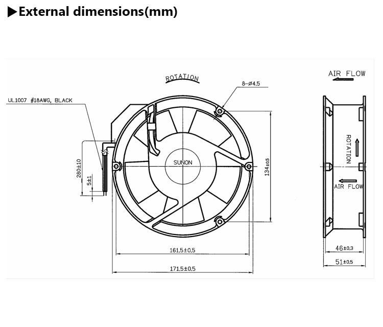 Standard Sunon Alveolate Motor 171mm 171x51 Exhaust Ac