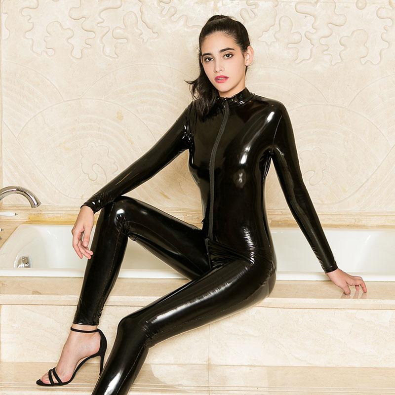 Горячая Распродажа, сексуальный женский комбинезон большого размера из блестящей кожи, латекса, с длинным рукавом, с двойной молнией и промежностью, Облегающий комбинезон, женский костюм-кошка zentai