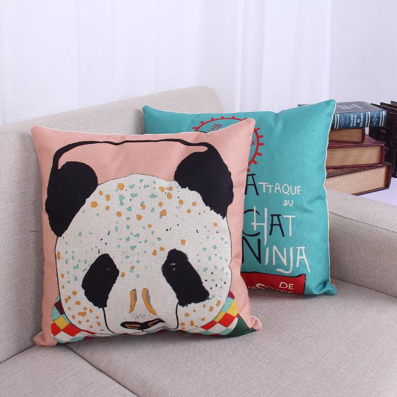 45cm Panada Ninja Cat Fashion Cotton Linen Back Cushion Hot Sale 18 Inch New Home Sitting Room Decor Coffee Sofa Pillow HL