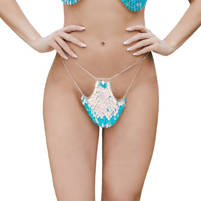 Bra Chain Body Jewelry Sparkly Sequin Thong G-string for Festival