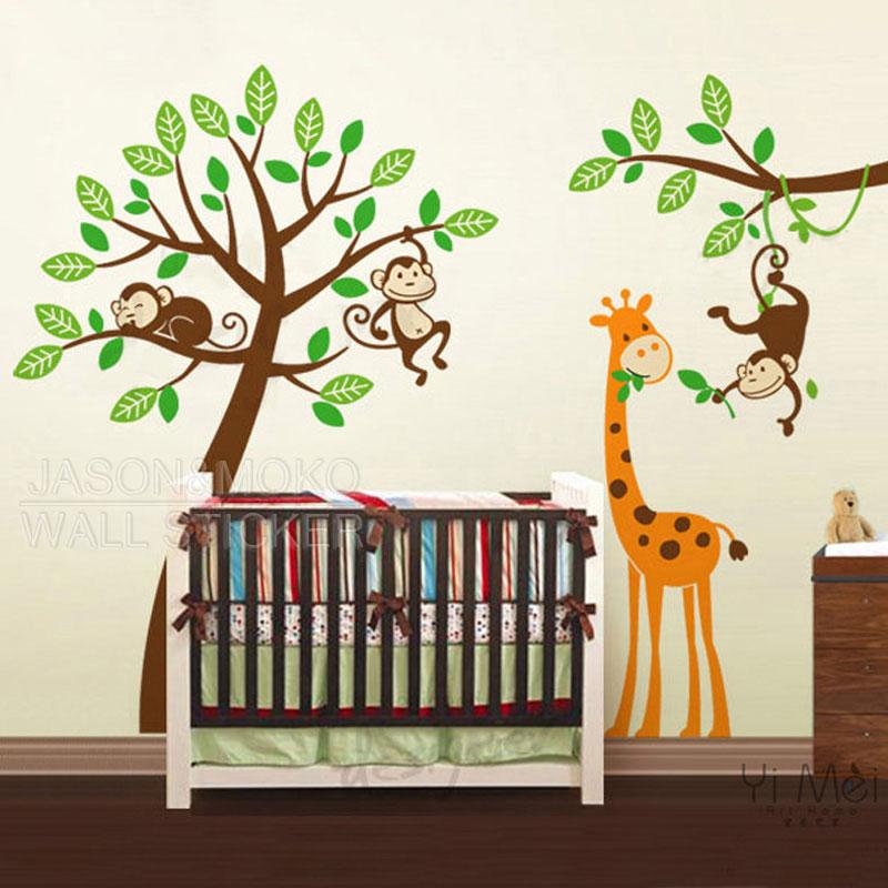 acheter arbre cartoon stickers singes girafe zoo stickers muraux decal wallpaper. Black Bedroom Furniture Sets. Home Design Ideas