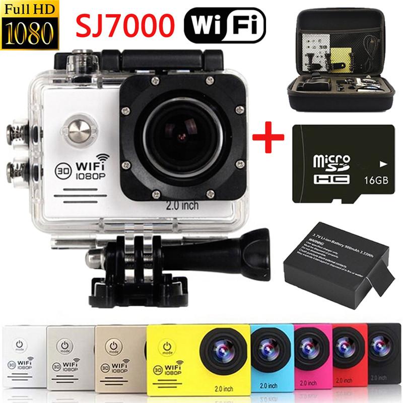 Original SJ7000 WiFi Waterproof Digital Cam Novatek 96655 HD 1080P Sport Action Camera DV DVR (16GB SD+Bag+2xBattery)