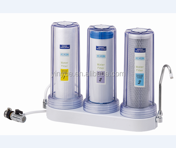 3 stages counter top water purifier with matel connector