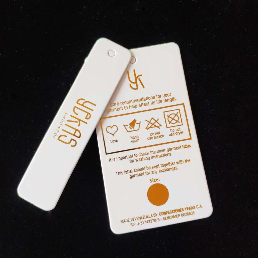 Custom Logo Gold Foil Hot Stamping Swimwear BIKINI Price Paper Swing Tags